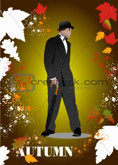 Abstract vector autumnal leaves pattern background with man and