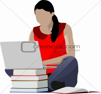 Sitting girl with laptop and book`s column. Back to school. Vect