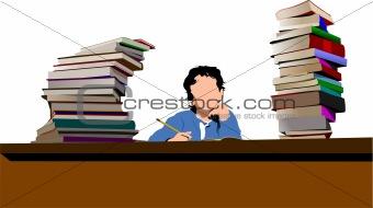 Sitting boy between book`s column. Back to school. Vector illust