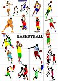 Big set of Basketball players. Colored Vector illustration for d