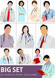 Big set of Medical doctor silhouettes with stethoscope. Vector i