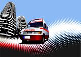 Abstract urban background with ambulance image. Vector illustrat