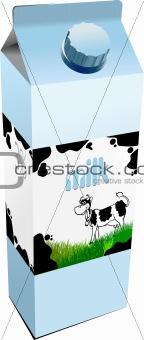 Dairy produces in carton box. Milk. Vector