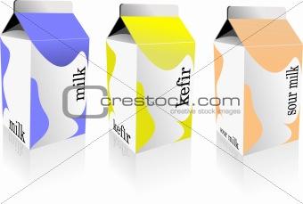 Dairy produces collection in carton box. Milk, kefir, sour milk.