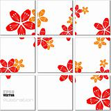 Vector Illustration geometrical mosaic pattern with flower image