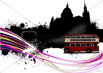 Grunge London images with buses image. Vector illustration