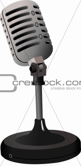 Vintage Microphone image on white background. Vector illustratio