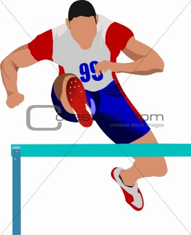 Man running hurdles. Vector illustartion