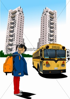 Dormitory and school bus. School girl. Back to school. Vector il