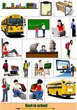 Back to school. Big set of School images. Vector