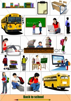 Back to school. Big set of School images. Vector