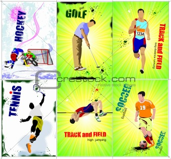Six sport posters. Track and field, Ice hockey, tennis, soccer,