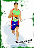 Long-distance runner. Poster. Vector illustration