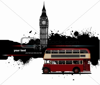 Grunge banner with London and red doubledecker router images. Ve
