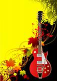 Cover for brochure with autumn leaves and guitar image. Vector