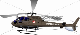 Air force. Ambulance helicopter. Vector illustration