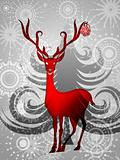 Reindeer with Red Ornament on Silver Background