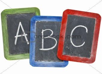 alphabet (A, B, C) on blackboards