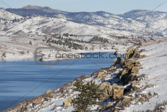 mountain lake in winter scenery