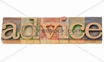 advice word in letterpress type