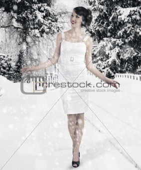 preety girl between the christmas ball