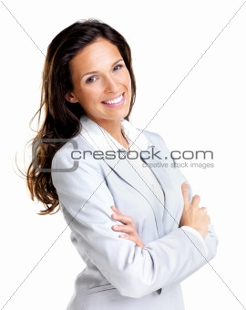 Confident young business lady standing with folded hand