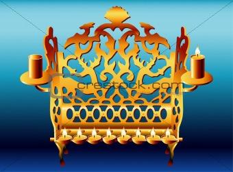 18 century Poland Hanukkah Menorah.