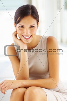 Portrait of beautiful young businesswoman smiling