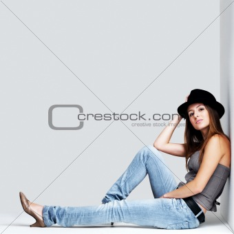 Beautiful young female model posing
