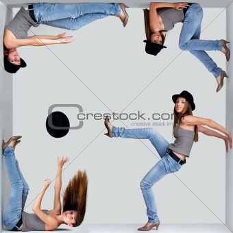 Collage of a young woman in different poses inside a square