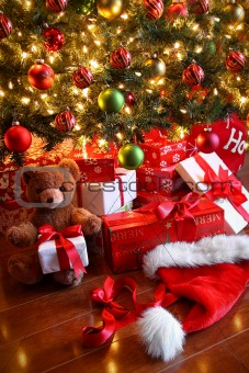 Gifts under the tree for Christmas