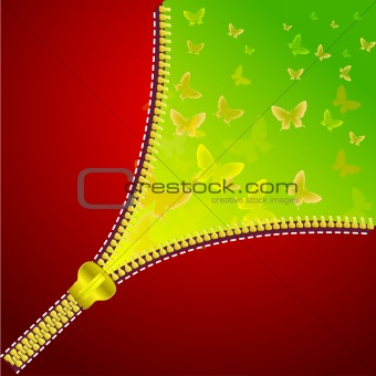 Abstract background with open zipper for design.