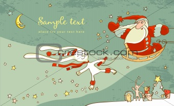 Santa Claus and white hare. Christmas Card
