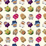 cartoon Arabian people seamless pattern