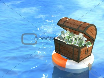 Lifebuoy and wooden box with money