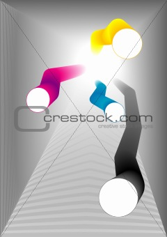 Abstract colored vector tubes