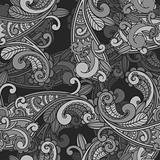 vector seamless monochrome paisley pattern