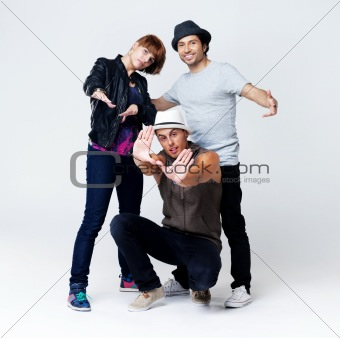 Stylish and cool breakdancer posing together