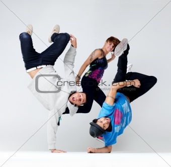 Funky hip hop group performing a cool dance act