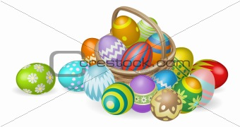 Painted Easter eggs in basket illustration