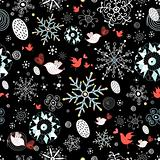 winter pattern of snowflakes and birds
