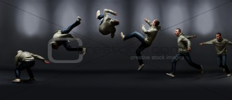 Sequence of hip hop dancer showing his crazy dancing skills