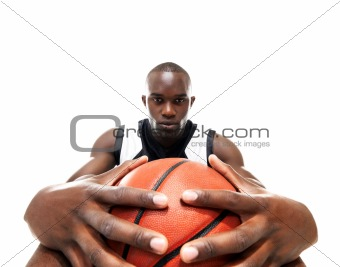 Young african american man with a basketball