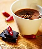 Hot chocolate with cinnamon and chili pepper