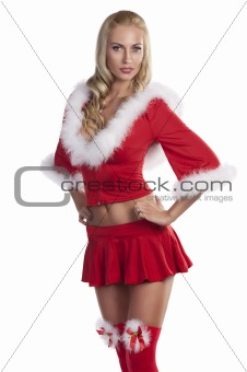 santa claus girl in red stockings