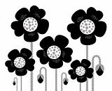 Black retro Flowers silhouette isolated on white background