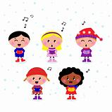 Cute multicultural singing & caroling Kids isolated on white