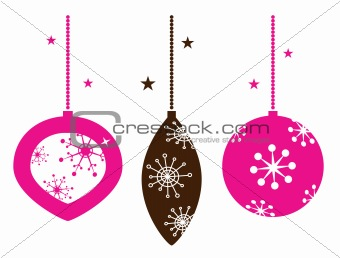 Christmas retro ornamental balls collection isolated on white