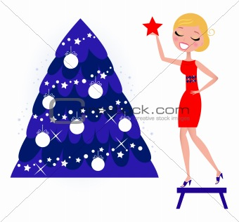 Cute Woman decorating Christmas tree isolated on white, retro