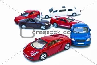 six coloured models of car